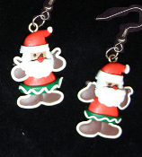 Funky GINGERBREAD MAN SANTA EARRINGS - Christmas Cookie Dessert Jewelry