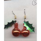 Small METALLIC RED GLASS BALL ORNAMENT EARRINGS - Christmas Jewelry (*Choice of Holly Leaf Color*)