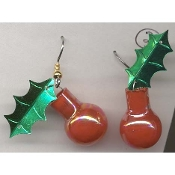 Small IRRIDESCENT RED GLASS BALL ORNAMENT EARRINGS - Christmas Jewelry (*Choice of Holly Leaf Color*)