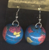 Big Funky Dimensional Mini GLOBE EARRINGS-Flight Attendant, Airline Pilot, Geography Teacher, World Traveler, Tourist Guide, Travel Agent Costume Jewelry - Colorful realistic hollow round metal Planet Earth with detailed readable atlas!