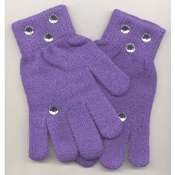 Washable Womens Girls Rhinestone Winter Dress MAGIC-Stretch GLOVES -PURPLE- Rhinestone shapes and colors may vary.