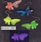 GOLDFISH EARRINGS - Funky Beach Fish Toy Charm Jewelry -NEON - Swim Team - Scuba Diver - 1-pair (*Chosen from assortment, as pictured)