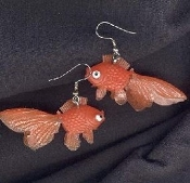 GOLDFISH EARRINGS - Funky Beach Gold Fish Toy Charm Jewelry -CLASSIC ORANGE