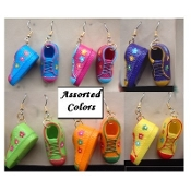 SHOES BUTTON EARRINGS - Funky Athletic Gym Shoe Sports Jewelry - 1- Pair (*Chosen from 6- Asstd Bright Neon Colors)