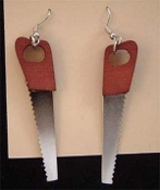 Hand Tool CROSSCUT HANDSAW EARRINGS - Carpentry Tool Charm Jewelry