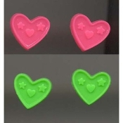 HEART BUTTON EARRINGS -2-pair- Valentine's Day Jewelry - PINK-GREEN