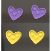 HEART BUTTON EARRINGS -2-pair- Valentines Day Jewelry - PURPLE-YELLOW