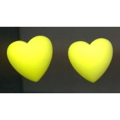 HEART Dimensional Button EARRINGS - Valentine's Day Gift Jewelry -NEON Yellow