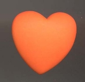HEART DIMENSIONAL BUTTON PIN BROOCH - Valentine's Day Gift Jewelry -Neon ORANGE