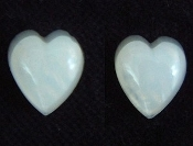 Small Vintage HEART FAUX OPAL BUTTON EARRINGS - Post Stud Valentines Day Love Jewelry