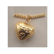 HEART PENDANT NECKLACE-Valentine Jewelry-Puffy Vintage Gold Bead