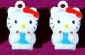 HELLO KITTY BELL EARRINGS - G - Funky Novelty Jewelry - Really Rings!
