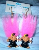 Tiny HONOR ROLL TROLL EARRINGS - Mini Teacher Graduation Black Cap Gown Jewelry -PINK Hair