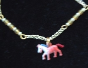 HORSE PENDANT NECKLACE-Vintage Enamel Equestrian Charm Jewelry