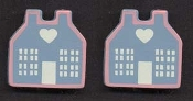 Pink and Blue Wood HOUSE EARRINGS - Love Heart Country Cottage Jewelry