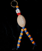Big I LOVE FOOTBALL KEYCHAIN - Sports Cheerleader Miniature 3-d Toy Charm Jewelry (*Choose your team colors!)