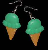 BIG Green PISTACHIO / MINT ICE CREAM CONE EARRINGS - Dairy Dessert Fast-Food Restaurant Jewelry