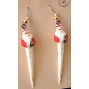 Miniature SANTA CLAUS ICICLE EARRINGS - Mini Resin Xmas Icicles Christmas Winter Holiday Charm Jewelry - Approx. 1.75-inch (4.38cm) tall. Ho-Ho-Ho!