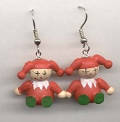 JACK-in-the-BOX JESTER CLOWN EARRINGS - 3-d Wood Christmas Jewelry