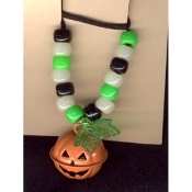 JACK-O-LANTERN BELL NECKLACE-Halloween Pumpkin Funky Jewelry-RND
