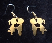 Classic Couple KISSING COUSINS EARRINGS- Retro Gold-tone, Vintage metal love charms costume jewelry - Remember 'LOVE IS...'?