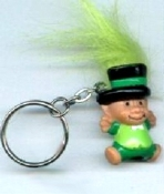 Mini collectible TROLL DOLL LEPRECHAUN KEYCHAIN - Big retro funky punk St Patrick's Day holiday novelty costume jewelry - LIME GREEN Hair - Miniature vintage Irish lucky charm toy gnome, on metal key ring.