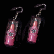 LIPSTICK TOY CHARM EARRINGS - Play Pretend Punk Fashion Doll Jewelry - DARK PINK
