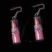 LIPSTICK TOY CHARM EARRINGS - Play Pretend Punk Fashion Doll Jewelry - LIGHT PINK