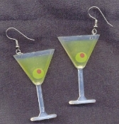 Huge Funky MARTINI GLASS EARRINGS - Cosmo Cosmopolitan Party Bar Drink Novelty Costume Jewelry - Complete with Olive!