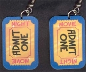 Movie Theater ADMIT ONE TICKET EARRINGS - Big Fun Thespian Jewelry