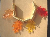 OAK LEAF LEAVES NECKLACE-Fall Acorn Autumn Thanksgiving Jewelry