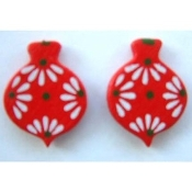 ORNAMENT WOOD BUTTON EARRINGS - Christmas Holiday Jewelry -RED