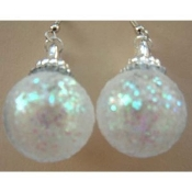 ORNAMENT EARRINGS - Christmas Gift Jewelry - GLITTER BALL -Large
