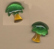 PALM TREE BUTTON STUD EARRINGS - Summer Island Coconut BEACH Jewelry -GREEN
