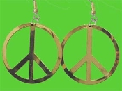 HUGE PEACE SIGN SYMBOL EARRINGS - Vintage 60's-70's Retro Hippie DIY Jewelry -GOLD