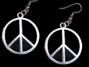 Silver Pewter PEACE SIGN SYMBOL EARRINGS - 60's-70's Retro Hippie DIY Jewelry