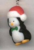 PENGUIN FUZZY PENDANT NECKLACE-Santa Holiday Bird Funky Jewelry