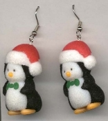 PENGUIN SANTA EARRINGS - Eskimo Igloo - Christmas Jewelry - FUZZY with Red Santa Cap.