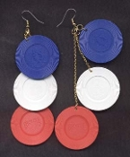 Actual-Size POKER CHIPS EARRINGS - Red White & Blue - Genuine Casino Novelty Jewelry