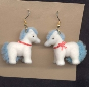 HUGE Funky FUZZY PONY EARRINGS - My Little Toy Horse Costume Jewelry - White Body with BLUE Mane and Tail. Big Flocked plastic mini figure toy charm. For equestrian and cartoon character lovers alike!