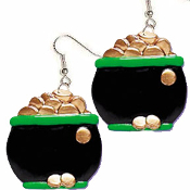 Big POT of GOLD LUCKY CHARM EARRINGS - St Patrick's Day Irish Luck Charm Jewelry