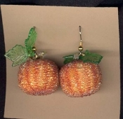 PUMPKIN FANCY SPARKLE BEAD EARRINGS - Thanksgiving - Halloween - Garden Charm Jewelry