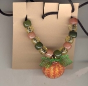 PUMPKIN FANCY PENDANT NECKLACE-Thanksgiving Halloween Jewelry-LG