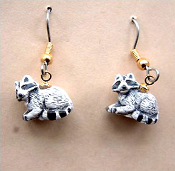 Tiny RACCOON EARRINGS - Woodland Animal Costume Jewelry