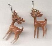 Mini REINDEER Buck & Doe EARRINGS - Christmas Winter Hunting Deer Jewelry -Tiny