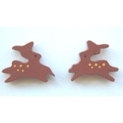 Tiny Wood REINDEER BUTTON EARRINGS - Novelty Running Deer Jewelry