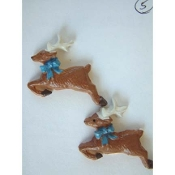 REINDEER FLYING BUTTON EARRINGS - Christmas Deer Resin Jewelry