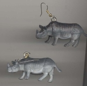 "HUGE Jungle RHINO RHINOCEROS TOY EARRINGS - Mini Safari Zoo Circus Novelty Charm Costume Jewelry - Large plastic miniature realistic dimensional detailed wild animal figure, approx 1"" tall x 2"" long."