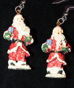 Miniature Resin SANTA CLAUS EARRINGS - Christmas Holiday Old-World Costume Jewelry -A