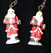 Miniature Resin SANTA CLAUS EARRINGS - Christmas Holiday Old-World Costume Jewelry -B